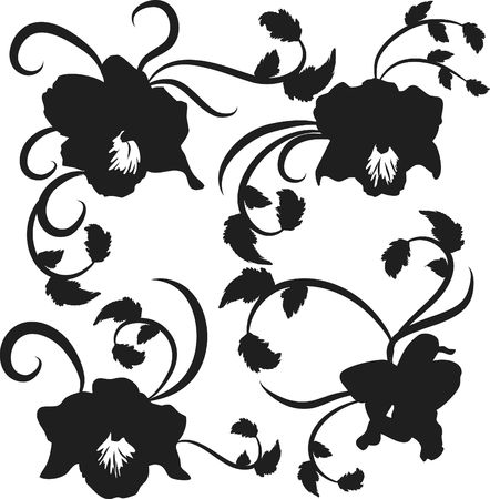 Vector illustration of Orchid design elements with leaves and swirls, illustration contains no gradients. Stock Illustration - 2336313