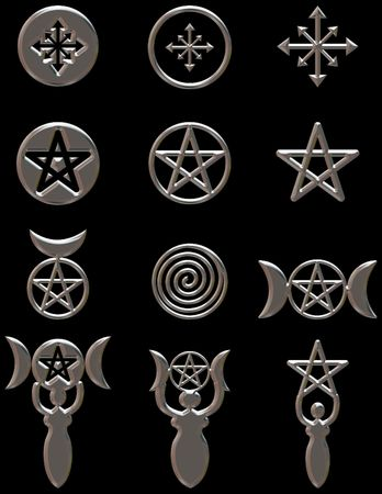 tarot: Illustration of Pagan Symbols in a set of design elements with a chrome finish.