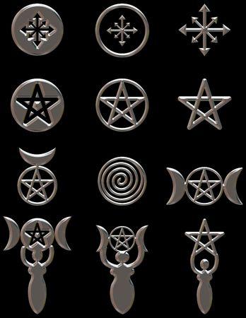 pentacle: Illustrazione di simboli pagani e di una serie di elementi di design con finiture cromate.  Archivio Fotografico