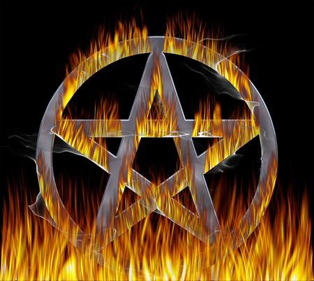 pagan: Flaming Pentagram with a chrome finish. With pentagram paths.