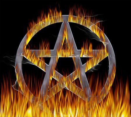 pentacle: Pentagram fuoco con una finitura cromata. Pentagramma con sentieri.  Archivio Fotografico