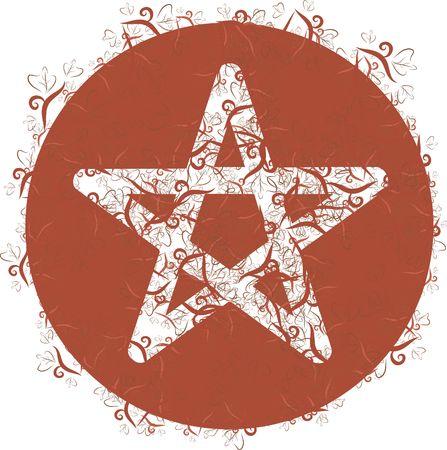designelement: Earth Goddess wilderness nature  pentacle symbol. Stock Photo