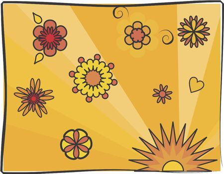 swoop: Stylized illustration of a bright flower patterned Shapes.
