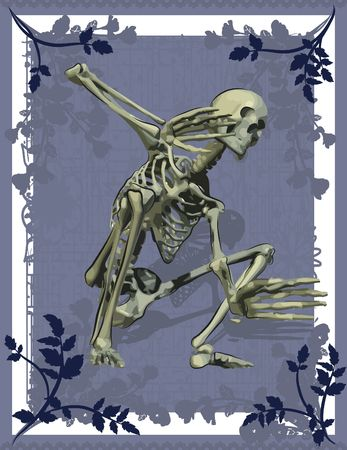 spiritual growth: Conceptual illustration of a scared skeleton with a grunge floral background, file has no gradients.  Stock Photo