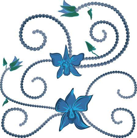 蘭の要素は、蘭の花と真珠のセットです。