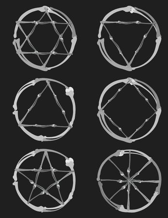 pentacle: Illustrazione di Pagan simboli in un insieme di elementi di design, senza pendenze.