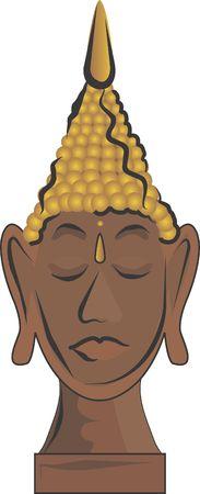 buda: Buda Head Statue is a peaceful illustration of a meditating Buda.