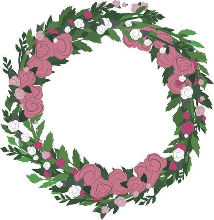 designelement: Illustration of colorful roses in a circle frame design element, with no gradients.