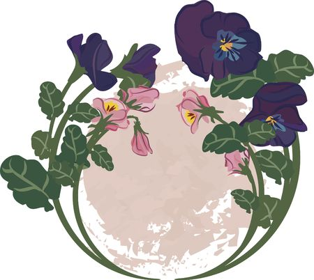 Circle of pansies with a nautal grunge background. photo