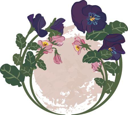 pansies: Circle of pansies with a nautal grunge background. Stock Photo