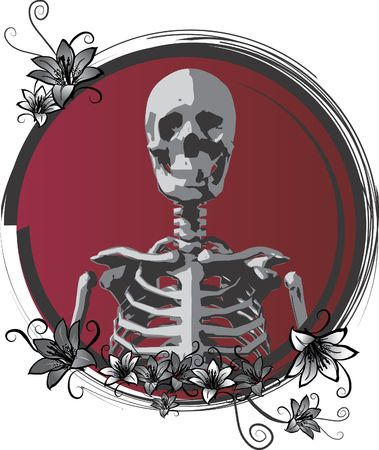 gnostic: Day of the Dead is an image of a Skeletons face with lilies and swirls together setting a dreamy mood.