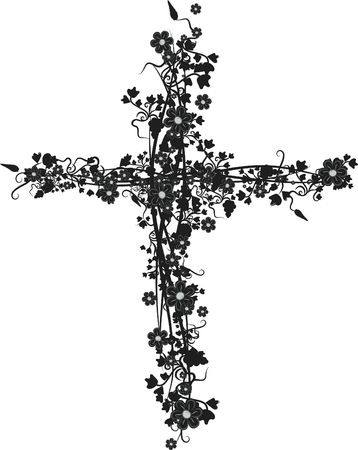 Illustration of grapes and ivy in a cross design element.  File contains no gradients.  Imagens