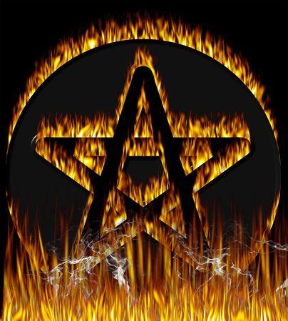 pentacle: Flaming Pentagram con finitura cromo. Con percorsi pentagramma.