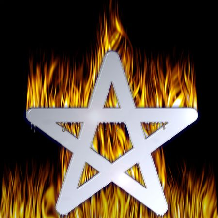 Flaming Pentagram with a chrome finish. With pentagram paths.