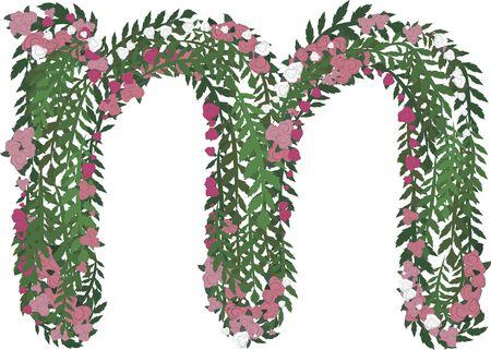 Illustratie van een kleurrijke rozen kleine letter, met geen verlopen.