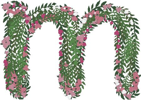 Illustration of a colorful rose lowercase letter, with no gradients.  Banco de Imagens