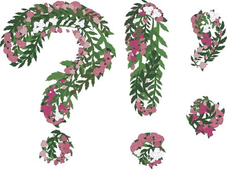 punctuation: Illustration of a colorful rose Punctuation, with no gradients.  Stock Photo