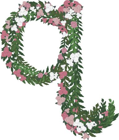 twists: Illustration of a colorful rose lowercase letter, with no gradients.  Stock Photo