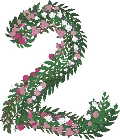 isolated: Illustration of a colorful rose number, with no gradients.