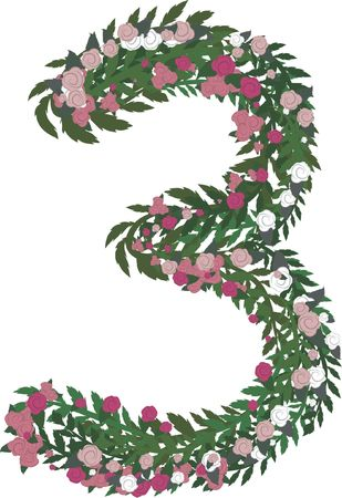 twists: Illustration of a colorful rose number, with no gradients.