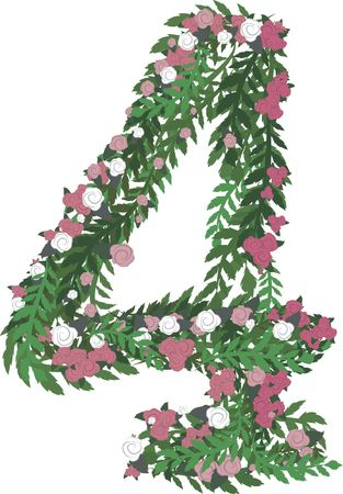 designelement: Illustration of a colorful rose number, with no gradients.
