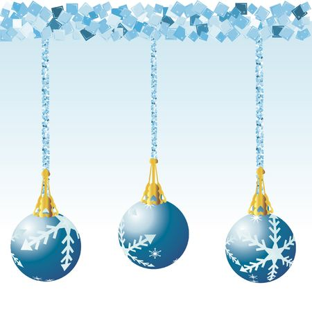 Christmas decorations illustrated with snowflakes on a Blue background.