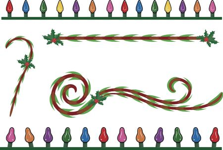 Candy cane design elements, with Christmas lights and Holly.  photo