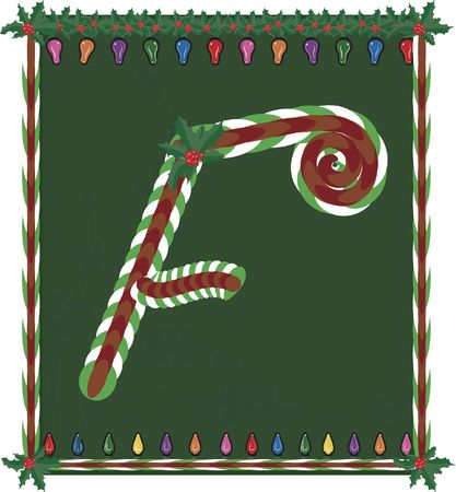 Hand drawn Capital  inspired by candy canes, with festive background. photo