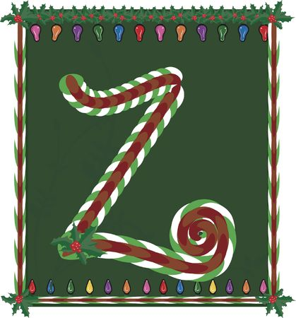 original sparkle: Hand drawn Capital  inspired by candy canes, with festive background.