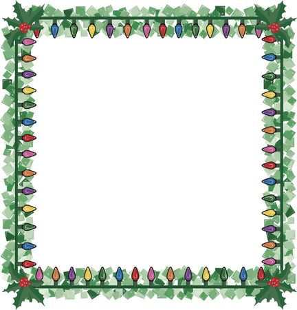 Christmas lights in a frame with holly and sparkling garland. photo