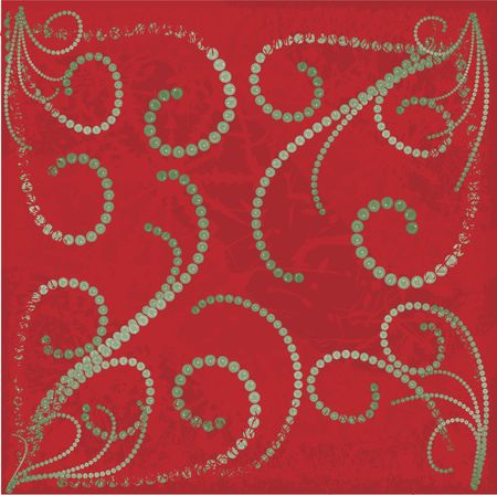 solstice:  decorations illustrated with snowflakes on a red background.