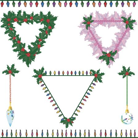 Illustration of holly and Christmas lights illustration