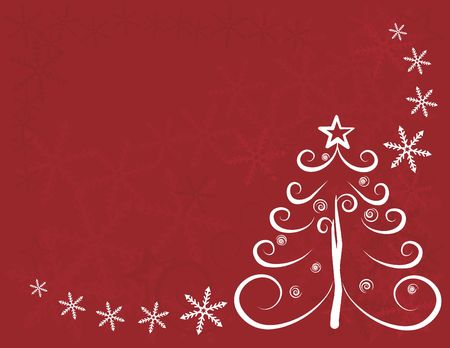 winter solstice: Christmas abstract illustraton with a Christmas tree in a dreamy red background.
