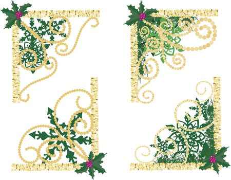 designelement: Illustration of swirling garland and pearls in a group of twisting snowflake corner elements.