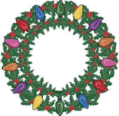 Illustration of garland and Christmas lights in a framed design element. File contains no gradients.  illustration