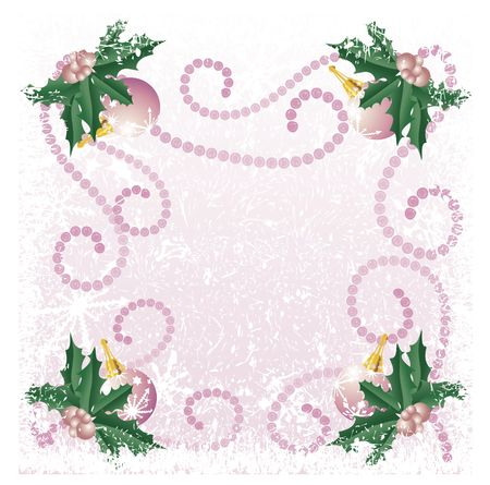 Christmas decorations illustrated with snowflakes on a Pink background. Each ornament is unique.
