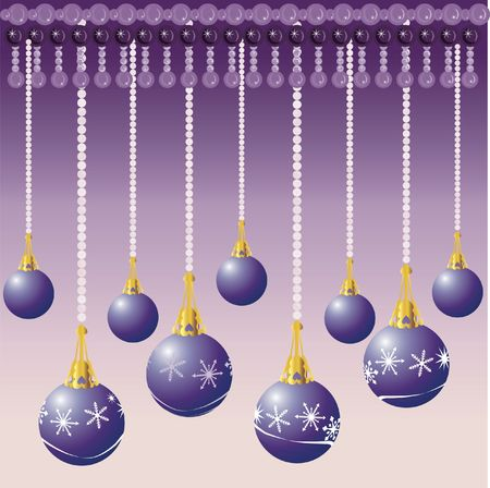 Christmas decorations illustrated with snowflakes on a Purple background. photo