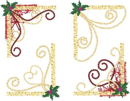 Illustration of swirling garland and pearls in a group of twisting snowflake corner elements.