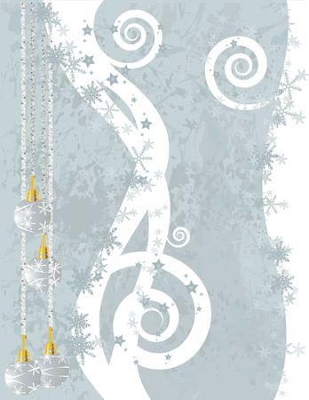imaginative: Christmas snowflake abstract background with grunge textures and ornaments.