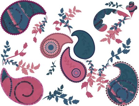 Paisley with pearls, and a natural grunge background. No Gradients.  photo