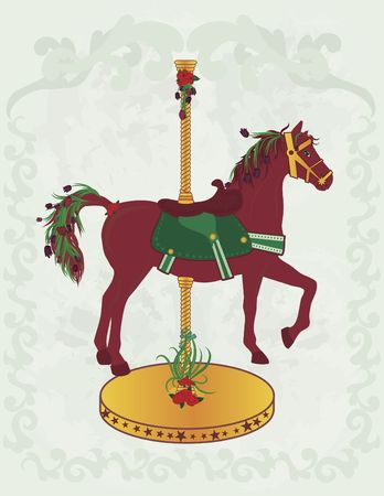 Illustration of a spring inspired carousel horse; the drawing is highly detailed.