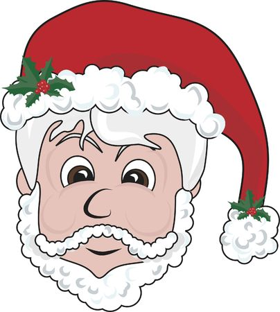 solstice: Illustration of a cute Santa�s head. File contains no gradients Stock Photo