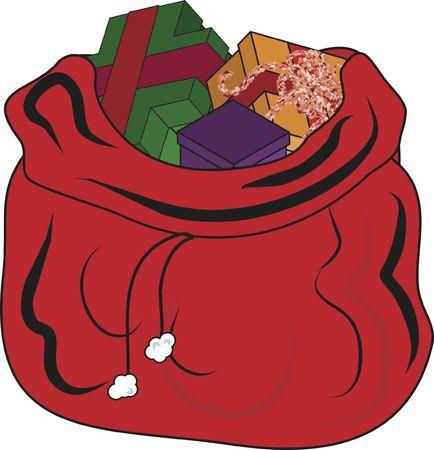 サンタ クロース ギフト袋のイラスト。ファイルにグラデーションが含まれていません。