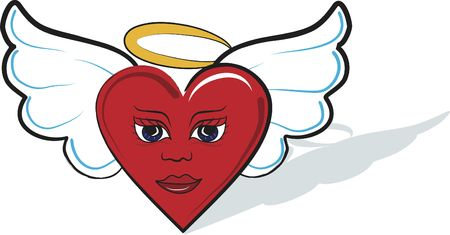 Illustration of a playful cartoon heart Angel. Illustration contains no gradients.