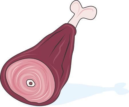 Ham is a funny illustration of a cartoon ham.   illustration