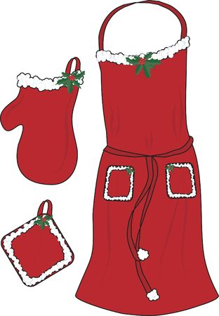 mitt: Illustration of a Christmas apron, oven mitt and pot holder. File is layered and easy to edit. File contains no gradients.