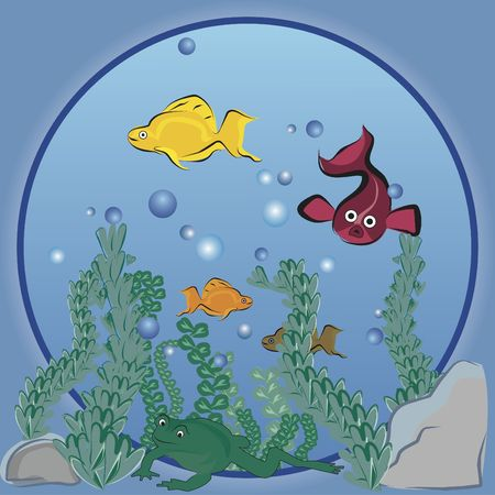 Illustration of cartoon fish in a bubble. illustration