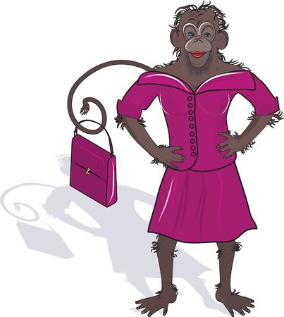 Illustration of a female office monkey in pink suit. Illustration contains no gradients. Stock Photo
