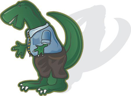 personality: Office Dinosaur is an office personality cartoon.  Stock Photo