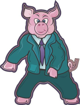 Bureau Piggie is een bureau persoonlijkheid cartoon. Stockfoto